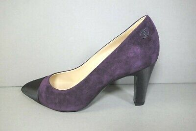 CHANEL 36.5 purple suede satin black cap point toe pumps heel NEW Gabrielle Coco