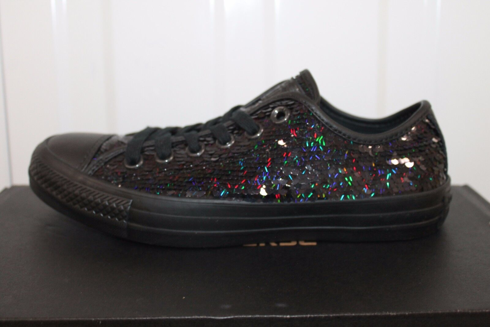 Converse CT All Star con Lustrini Festa Party Nero Donna ragazza S/ S NUOVO CON SCATOLA 15