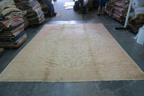 Vintage Turkish Oushak Sivas Rug Wool Hand Knotted 9