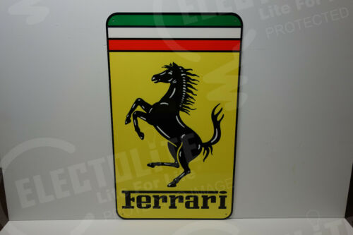 "Ferrari  Steel Enamel Die Cut COLORFUL ENAMEL Dealer sign. 28"" high X 16.5"" wide"