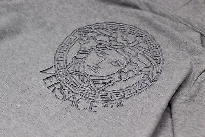 Versace Gym Medusa Embroidered Gym Hoodie In Grey Size 3 Size Small