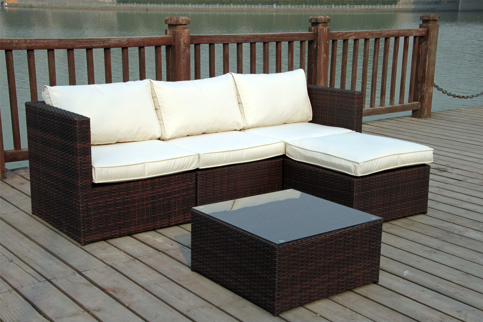 new rattan wicker conservatory outdoor garden furniture set corner sofa table ebay. Black Bedroom Furniture Sets. Home Design Ideas