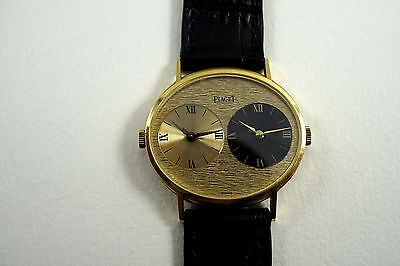 PIAGET 612501 TWO TIME ZONE 18K YELLOW GOLD MINT DATES MID 1970'S