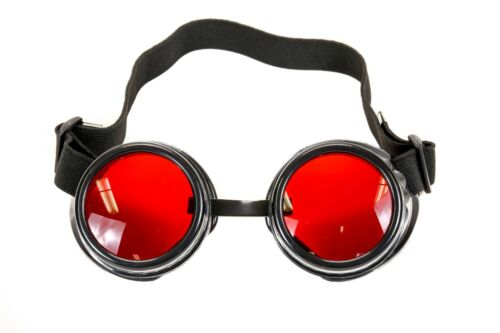 Red Lens Victorian Steampunk Goggles Glasses Welding Cyber Punk Gothic Cosplay