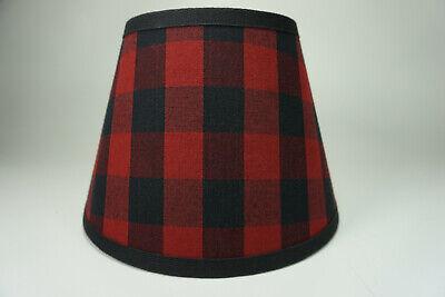 Country Primitive Black Red Buffalo Check Homespun Fabric Lampshade Lamp Shade
