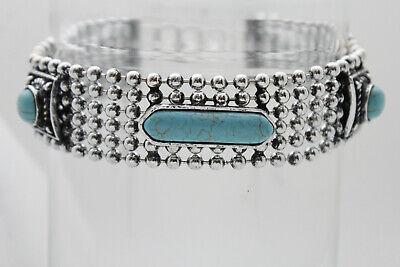 Women Bling Silver Metal Fashion Jewelry Choker Necklace Big Turquoise Blue Bead ()