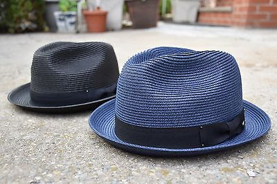 Mens Summer Fedora Hat, Poly braid Stingy Brim, Crushable & Light Weight -