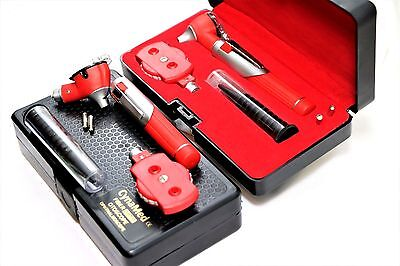 Premium Fiber Optic Mini Otoscope Opthalmoscope Diagnostic Set Ent-red Color