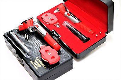 Premium Fiber Optic Mini Otoscope Opthalmoscope Diagnostic Set Ent-red Color
