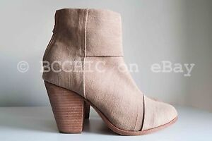 BN RAG & BONE 'newbury ankle boot' camel canvas fabric natural brown short 39