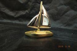Vintage Elgin Sailboat Desk Clock Nautical  Brass Tone Watch