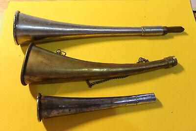Alte Tröten Hörner Messing 4 Stück defekt Ersatzteilspender 14-22cm 1900-50 Deko