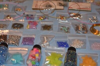 HUGE Lot Beads/Jewelry Making Supplies 50 'Bags' 100% NEW - UNIQUE LOTS! +XTRAS - Jewelry Making Supplies Wholesale