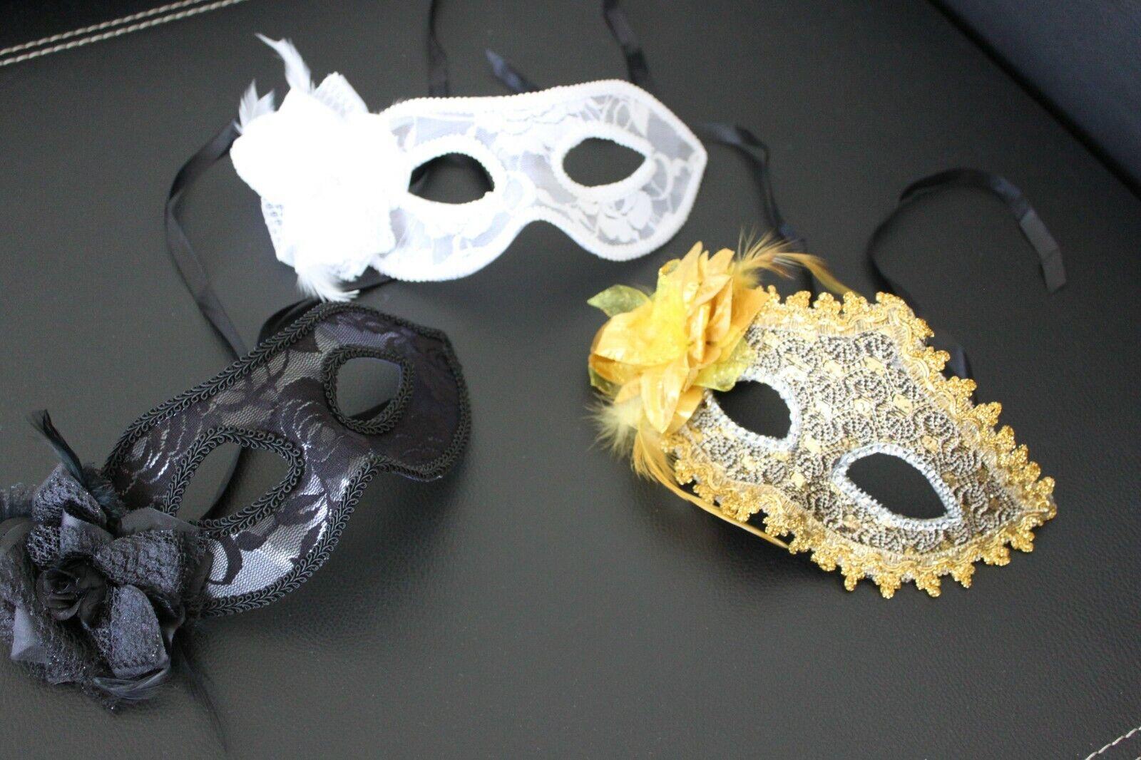 drei Kostüm Masken Damen m Blumen Maske Foto Shooting Karneval Party gebr unben.