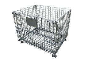 Collapsible Container Wire Basket Foldable Storage Bins 40 x 32 x 31 1/2