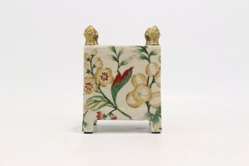 """Beautiful Chinoiserie Wild Berry Porcelain Square Flower Pot Brass Accents 6"""""""