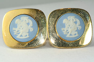 VINTAGE 1960'S GOLD FILLED WEDGWOOD CUPID CUFFLINKS