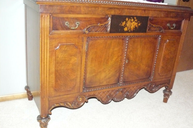 Antique Jacobean Walnut Dining Room Buffet Circa Late 1800's