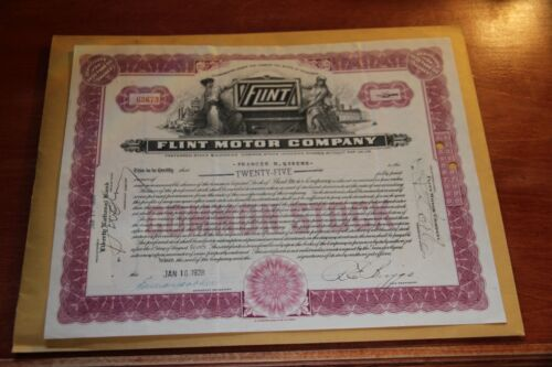 1928 Flint Motor Company Vintage Auto Stock Certificate  25 Shares
