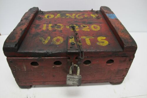 Vtg Carnival or Circus Wooden Candy Apple Stick Electrical/Junction Box~1940-50s