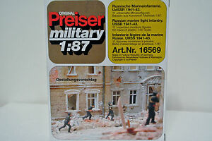 Preiser-16570-HO-1-87-WWII-Russian-Marine-Light-Infantry-Unpainted-Kit-C-9-NIB