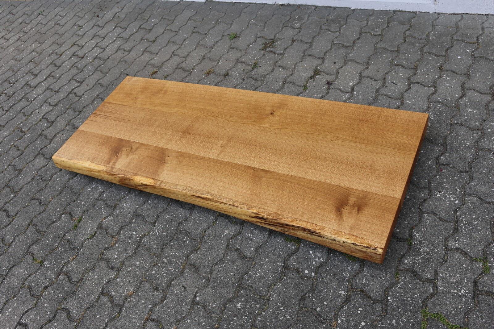 tischplatte platte eiche massiv holz tisch brett leimholz 6cm stark m baumkante eur 420 00. Black Bedroom Furniture Sets. Home Design Ideas