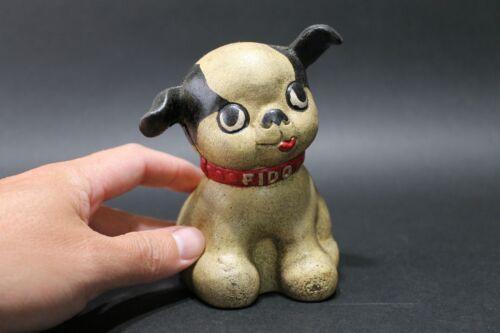 Antique Vintage Style Cast Iron Fido Dog Coin Bank