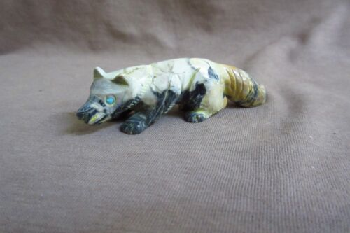 Native Zuni Egyptian Marble Cunning Wolf Fetish by Lance Cheama - C3319