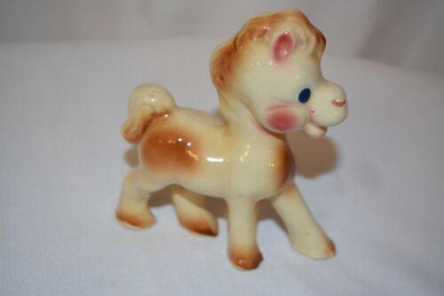 "Vintage Rempel Diamond Pottery Ceramic Pony Horse Figurine 5.5"" Brown White"