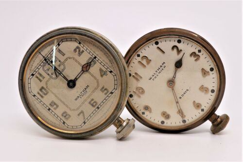 Lot of 2 Antique Waltham 8 Days Brass Car Clocks 1920