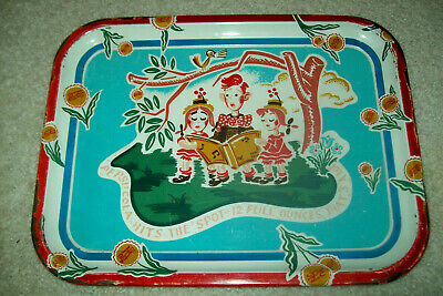 "Vintage 1950s Pepsi-Cola Metal Tray - Children Singing ""Hits the Spot"" Jingle"