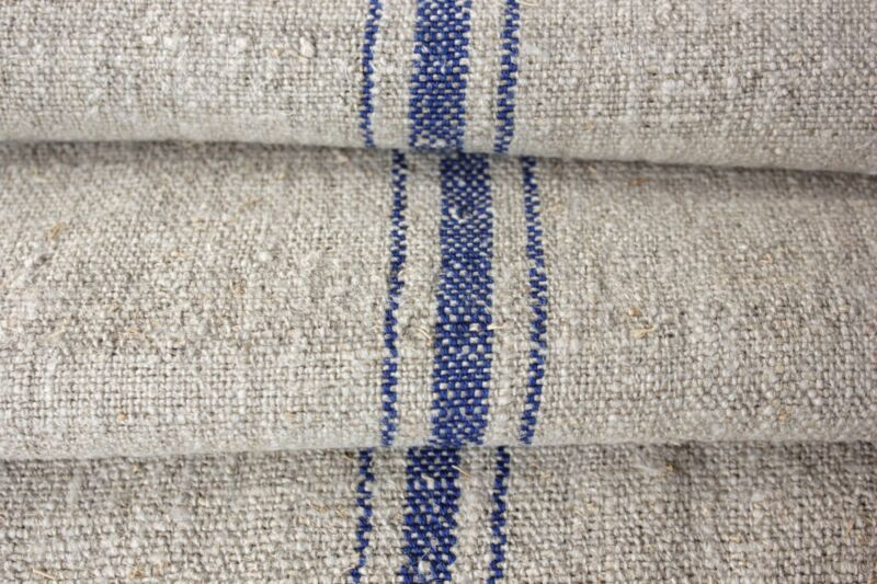 Grain sack material fabric FLAX 11. yds GRAY GREY blue stripe grainsack linen