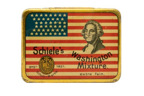 "Rare1910s German ""Washington Mixture"" litho hinged tobacco tin in very good cond"