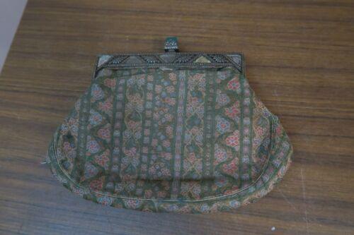 "Antique European Silk Brocade Purse Bag 8"" x 5"" Beautiful Art Deco Hardware"
