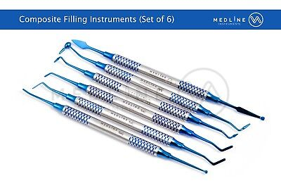 6 Pcs Dental Composite Filling Instrument Blue Titanium Coated Restorative Kit