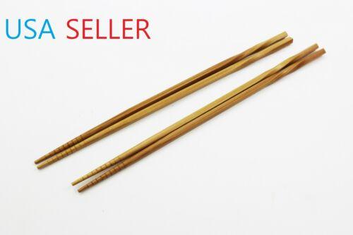 2 Pairs Bamboo Long Chopsticks Twisted Grip 12 in Long Multi Purpose Chopsticks