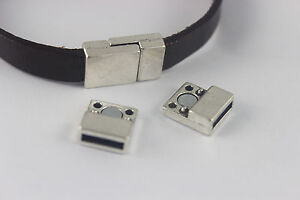 Sets 10x2mm flat magnetic clasp for 5mm 10mm flat leather cord ebay