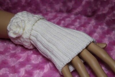 - Fingerless Gloves Flower Accent on Honeycomb Knit Cuff  Reversible Arm Warmers