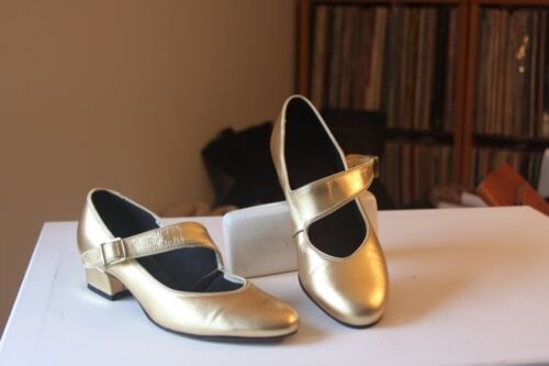 """Tic-Tac-Toes 937 Gold Leather 1 1/4 """" Heel Mary Jane Dance Shoes Size 7.5 Narrow"""