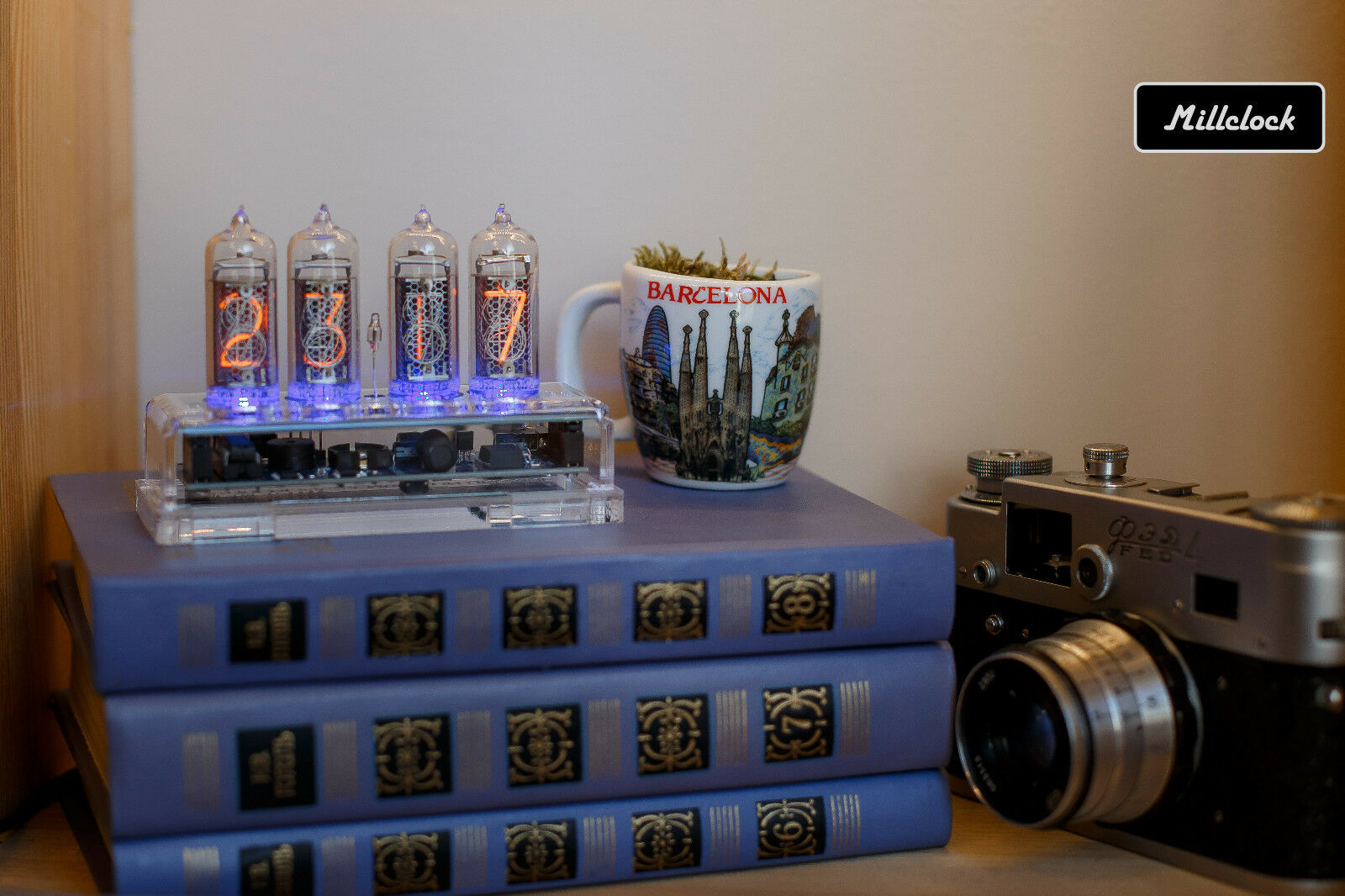 IN-14 NIXIE TUBE CLOCK ASSEMBLED WITH ENCLOSURE AND ADAPTER 4-tubes by MILLCLOCK