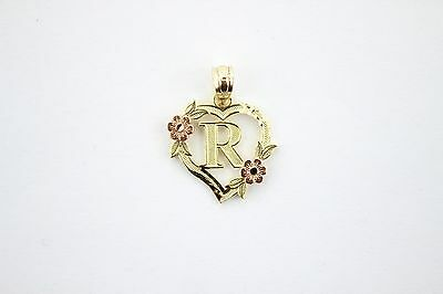 Authentic 10k Yellow Gold Heart Flower Alphabet Initial Letter Pendant (10k Gold Heart Pendant)