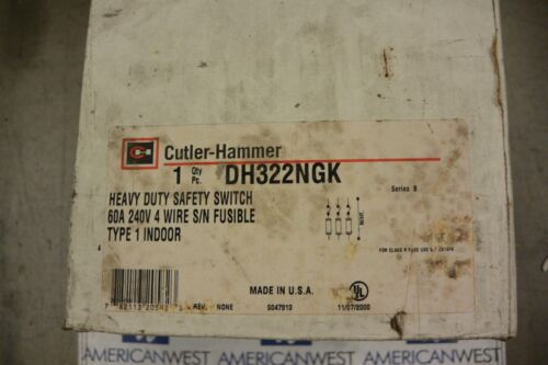 CUTLER HAMMER DH322NGK 3P 240V 60 AMP FUSED DISCONNECT SWITCH - NEW
