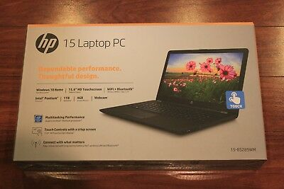 "New HP 15.6"" Touch Laptop/Intel Pentium Quad-core/4GB/1TB/Win10/Bluetooth/Black"