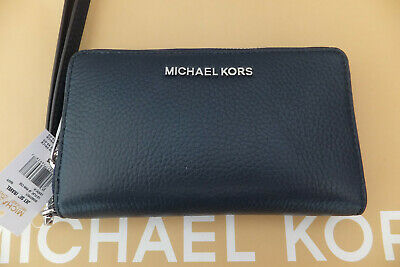 Michael Kors Jet Set Travel Large Flat Grain Leather Smartphone Purse Wallet New