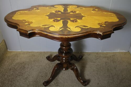 Great Italian Satinwood & Walnut Inlaid Carved base Center / Hall Table