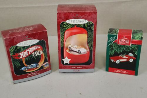 3New Hallmark Ornament-Hot Wheels 30th Anniversary, 1998 Corvette, 1957 Corvette