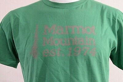 100% Organic T-shirts - NWT Marmot Mountain Men's Tee SS Green LARGE T-Shirt 100% Organic Cotton 1974