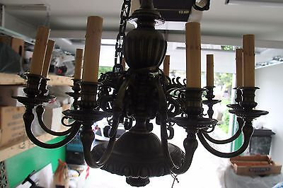 Vintage French Solid Bronze Eight-Arm Chandelier Griffin/Gargoyle/Grotesque