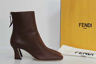 New sz 7 / 37 Fendi Brown Leather FFreedom 65mm Calf Leather Booties Boot Shoes