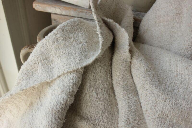 Old linen sheet handwoven linen  5 POUNDS HEAVY NUBBY fabric HEMP 51X85